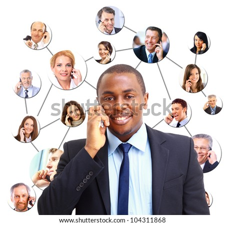 A group of people talking on the phone - stock photo