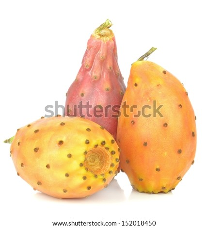 A group of prickly pears cactus figs on a white background