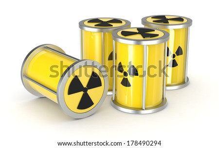a group of protective capsules for  a radioactive source, concept of nuclear energy (3d render) - stock photo