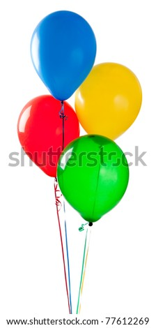 A group of  red, yellow, green and blue balloons on a white background