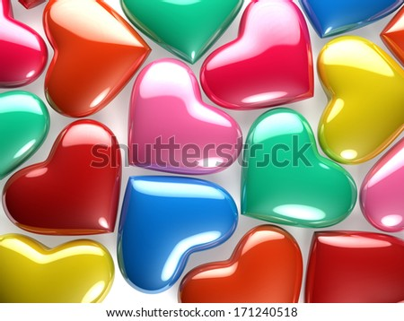 A group of reflective hearts of various colors