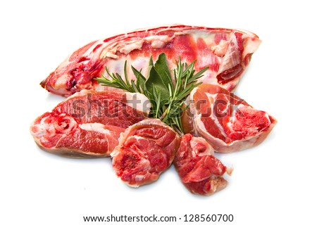 a group of rib lamb isolated on white - stock photo