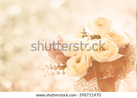 a group of rose, beautiful flowers on bokeh background, beautiful flowers made with color filters - stock photo