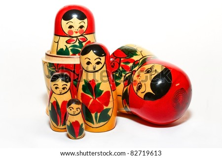 A Group of Russian Doll Isolated - stock photo