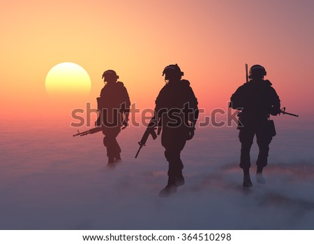 A group of soldiers is fog. - stock photo