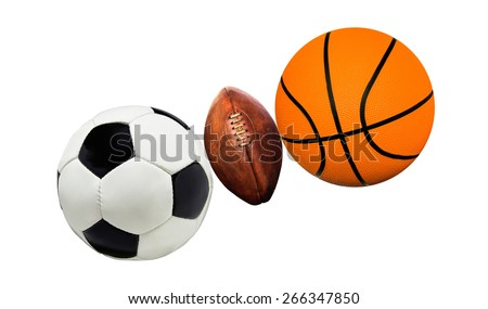 A group of sports balls on a white