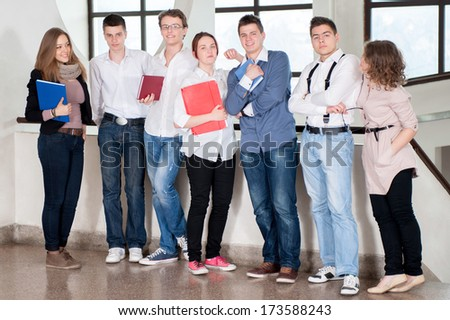 A group of students standing in a row