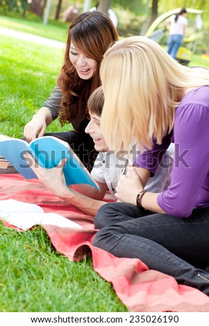 A group of teenage students Outdoors shoot - stock photo