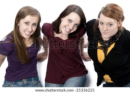 A group of three cute young women.