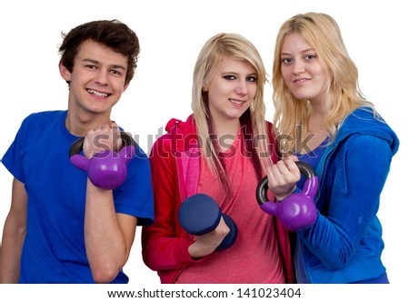 A group of three friends working out using weights, isolated on white.