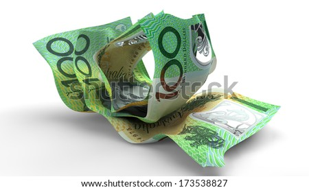 A group of three scrunched up creased australian dollar banknotes on an isolated white background