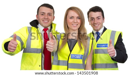 A group of three security guards expressing themselves, isolated on white