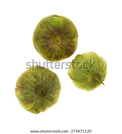 A group of three whole green tomatillos with stems on a white background. - stock photo