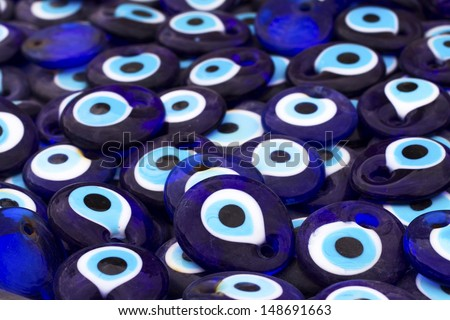 A group of traditional Turkish Amulet Evil Eye, the blue eye also known as Nazar Boncugu