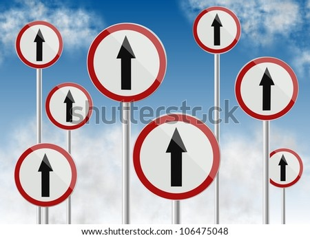 a group of traffic signs all showing direction up / direction traffic signs - stock photo