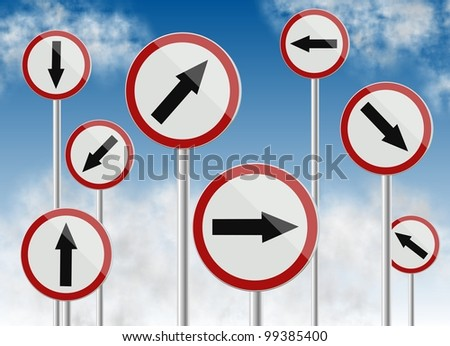 a group of traffic signs showing different directions / direction traffic signs - stock photo