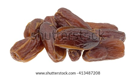 A group of Tunisian pitted dates isolated on a white background. - stock photo