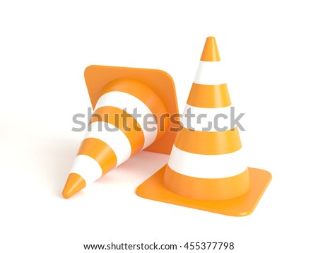 A group of two orange and white traffic road cones isolated on white background. High-resolution 3d illustration