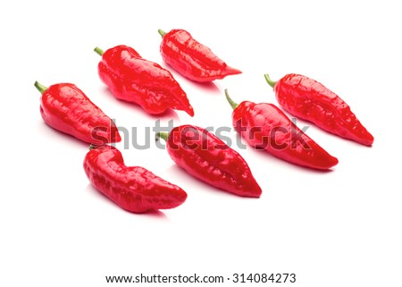 A group of ultra hot red ghost chilis on white