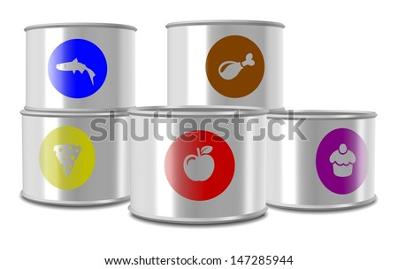 A group of white cans with different type of food in them / Canned food