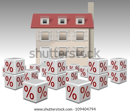 a group of white cubes with percentage symbol on them and a family home in the background / mortgage interest rates - stock photo