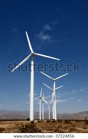 A group of Wind Turbines in the desert