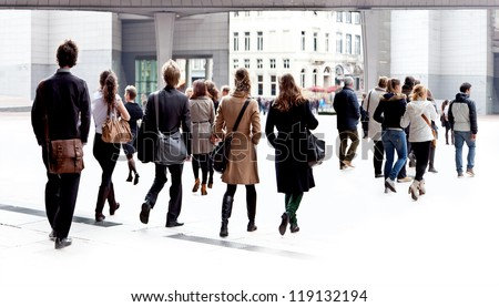 A group of young people. Panorama. Urban landscape. - stock photo