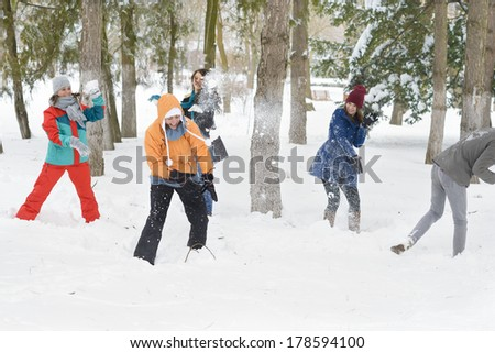 A group of young people playing in the snow - stock photo