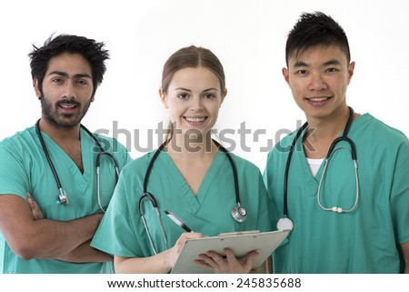 A group Portrait of three multi-ethnic Asian healthcare workers wearing uniforms. Medical team Isolated on a White Background.