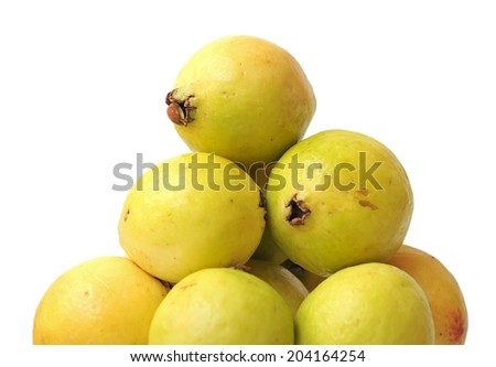 a group ripe guava on white - stock photo
