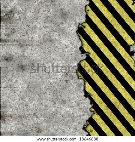 A grunge background featuring hazard stripes over a concrete wall. Plenty of copy space. This image even tiles seamlessly as a pattern.