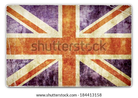 A Grunge Card, Paper Background with United Kingdom, British Flag - stock photo