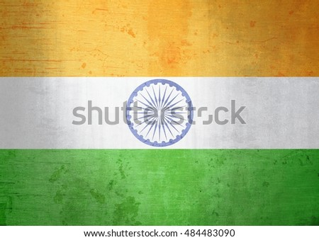 A grunge illustration of the flag of India