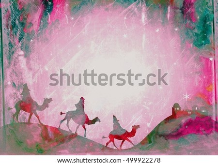 A grunge style Christmas wise men background page designed with hand painted watercolour effects.