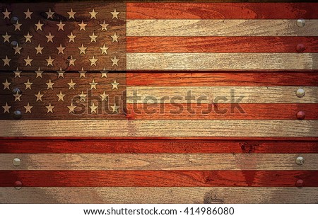 A grunge USA flag on wooden background, poster effect - stock photo