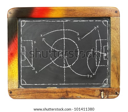 a grungy soccer tactic board, 2012, germany - stock photo