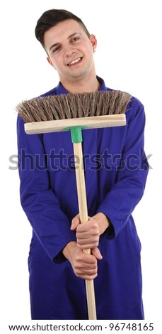 A guy holding a broom, isolated on white - stock photo