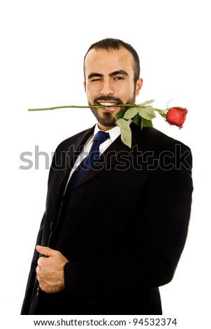A guy in a cheesy valentine's pose