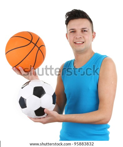 A guy with a basketball and a football, isolated on white