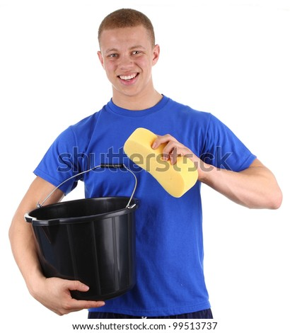 A guy with a bucket and sponge, isolated on white