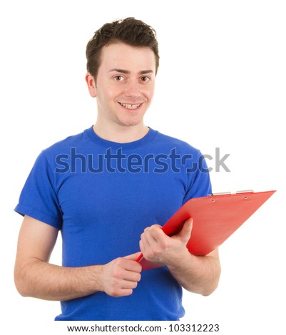 A guy with a clipboard, isolated on white