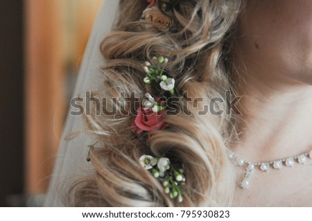 A hairstyle of bride.