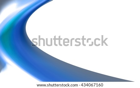 A half blue curved with a white background.