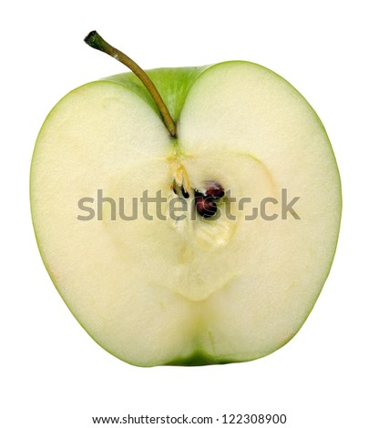 a half of green apple isolated on white background