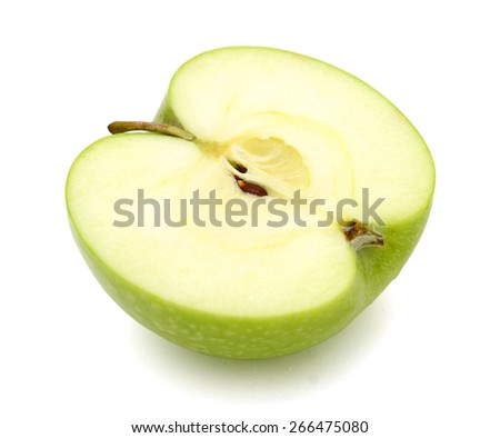 a half of green apple on white background  - stock photo