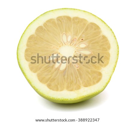 A half of Green pomelo citrus fruit isolated on white background