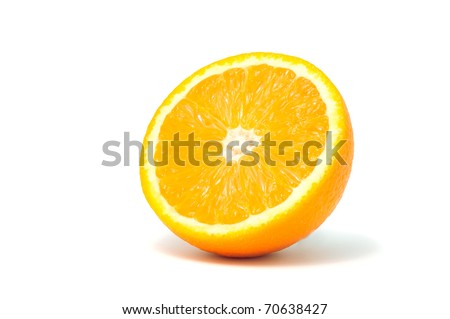 A half of orange isolated on a white background - stock photo