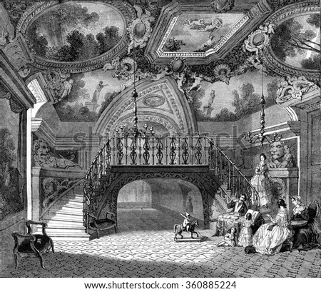 A hall of the palace Borghese, Rome, vintage engraved illustration. Magasin Pittoresque 1847.