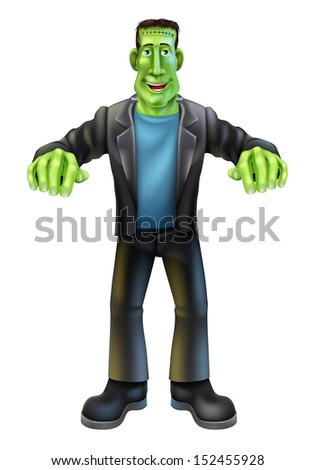 A Halloween cartoon Frankenstein monster character standing with his arms out in classic horror movie pose - stock photo