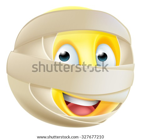A Halloween mummy emoticon emoji character in bandages - stock photo